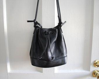 Black Pebbled Leather Bucket Drawstring Bag