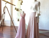 Coralie French Love Letters Ruffle Aline Sash Skirt~ Choose from 11 Colors. Bespoke Sand Dollar Blush Bow Bridal Skirt.