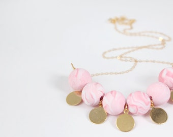 Pink Swirl Clay Bead Necklace / Polymer Clay Bead Necklace / Pink / Gold / Jewelry Under 50 / Gifts for Her