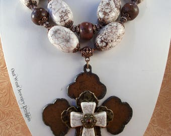 Christian Cowgirl Statement Necklace Set - Chunky White and Brown Howlite - Cross Pendant