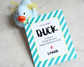 personalized children's valentines / party favor tags / class gift tags / valentine's day - lucky duck / rubber duckie
