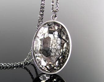 Swarovski Crystal Necklace, Vintage Style Aged Crystal Pendant Necklace, Dark Patina Oxidized Sterling Silver Chain, Baroque Crystal Jewelry