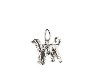 Afghan Hound Dog Sterling Silver Charm