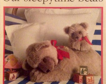 Vintage Sewing Pattern Sleepytime Bears Stuffed Bears Mother and Baby Uncut 1989 Fun Fur Toys