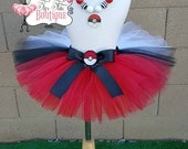 POKE BALL inspired- Red, Black, and White baby/child Tutu with hairbow:  Newborn-5T