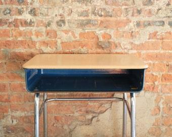 Vintage Open Front School Desk - Blue Body