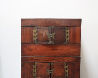 Antique Korean Butterfly Armoire Japan Occupation Era