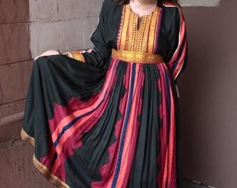 Vintage 1960's Folk Dress // 60s 70s Afghani Dress // Kuchi Cotton Black Pink and Blue Striped Dress with Gold Metallic Trim // Pakistan