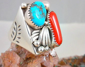 Vintage Native American Turquoise Coral Man's Sterling Ring