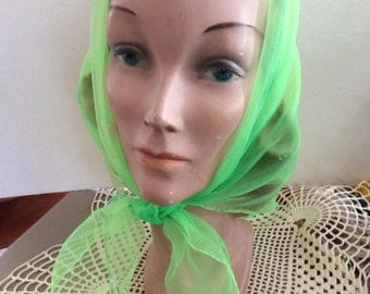 Vintage 1960s Scarf Lime Green Sheer Nylon With Hand Painted Flowers
