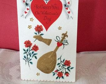 Vintage 1950s Valentine Card Mandolin Gloved Hand Roses Collectible Paper Ephemera Art Craft Scrap Booking Supply