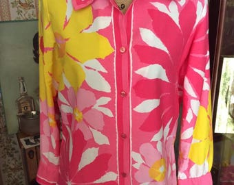 Vintage 1960s Blouse Signed Vera With Ladybug Logo Shades Of Pink Yellow White All Cotton