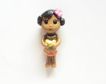 Cold Porcelain Baby Moana Figurine, Pendant, Ornament, Purse Charm, Bow Center, Brooch, Magnet /DIY Princess Moana Necklace, Jewelry