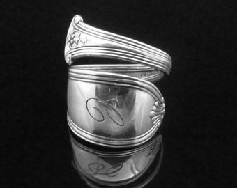 Monogrammed Sterling Silver Wrapped Spoon Ring