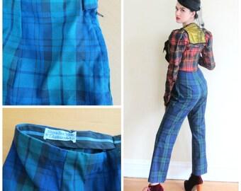 Vintage 1950s Blue Plaid Pants / 50s Pants Trousers Slacks by Davenshire / Small