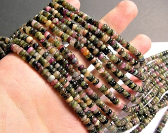 Tourmaline - 5mm (5.5mm) heishi rondelle beads - 17 inch strand - 160 beads - Ab quality - multi color tourmaline - RFG1273