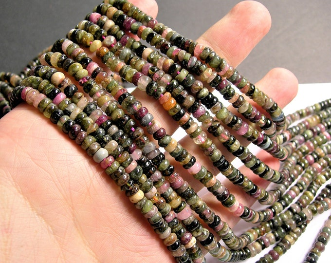 Tourmaline - 5mm (5.5mm) heishi rondelle beads - 17 inch strand - 160 beads - Ab quality - multi color tourmaline - RFG1273
