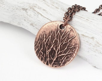 Winter Tree Necklace for Her Antique Copper Jewelry Copper Tree Pendant Nature Lovers Gift Aspen Forest Pendant Woods Tree Jewelry Copper