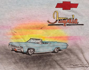 1960s Chevy Impala Covertible Airbrushed T-Shirt, 1994 Custom Airbrush Painted Artwork, Vintage 90s, Classic Chevrolet Car Sunset Painting