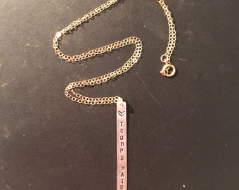 LOVE TRUMPS HATE Long Bar Necklace in Sterling Silver and Gold Filled
