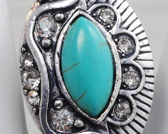 Turquoise Statement Ring/Silver/Rhinestone/Spring/Summer Jewelry/Gift For Her/Adjustable/Under 20 USD
