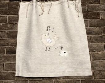 Gray Linen Cafe Curtain Bird Embroidery Design, Natural Flax Kitchen Window  Curtain, Jute Twine