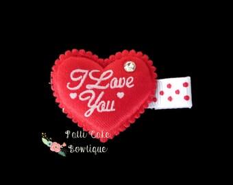 Valentines Day Heart Hair Clip, I Love You Hair Clip, Girls Hair Clips, Baby Hair Clips, Red Bow, Heart Hair Bow, Toddler Hair Clips
