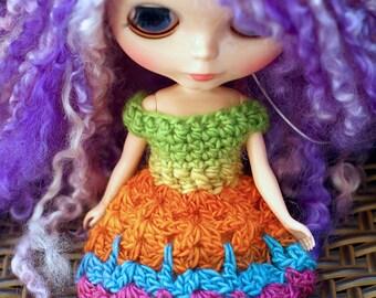 Rainbow Blythe Dress, Blythe Doll Lace Dress, Crochet Lace Doll Dress, Colorful Doll Lace Dress, Blythe Crochet Dress, Crochet Lace Dress