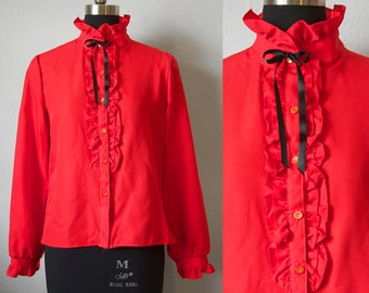 Vintage Red Blouse Ruffles Bow Tie Pussy Bow Women Small Medium