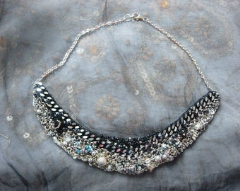 city of angels - a mixed media necklace delicately embroidered with silver chains