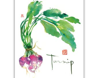 Watercolor turnip painting, Vegetable print, Green kitchen decor, Botanical art, Garden poster, Veggie art, Kitchen print, Food illustration