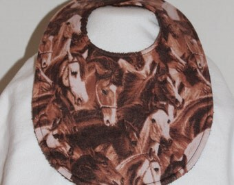 Horse Heads Flannel / Terry Cloth Bib
