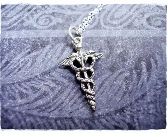 Silver Caduceus Symbol Necklace - Sterling Silver Caduceus Symbol Charm on a Delicate Sterling Silver Cable Chain or Charm Only