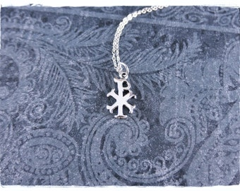 Silver Chi Rho Necklace - Sterling Silver Chi Rho Charm on a Delicate Sterling Silver Cable Chain or Charm Only