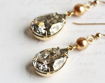 Large Gold Crystal Rhinestone Teardrop Dangle Earrings with Pearl ('Gold Patina' Swarovski Elements)