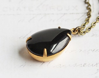 Black Teardrop Necklace, Rhinestone Drop Necklace on Antiqued Brass Chain, Simple Black Necklace, Everyday Jewelry, Retro Style Jewelry