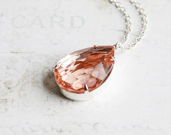 Large Peach Rhinestone Teardrop Pendant Necklace on Silver Plated Chain (25mm)