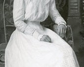 Beautiful Young EDWARDIAN WOMAN with White COTTON Dress and Big Bow In Her Hair Photo Benson Minnesota circa 1910