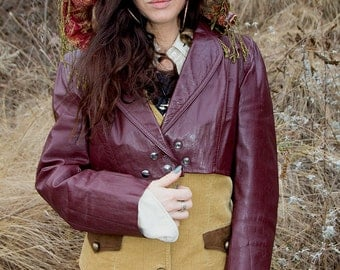 Vintage Burgundy Leather Tuxedo Jacket / Hooded Captains Coat
