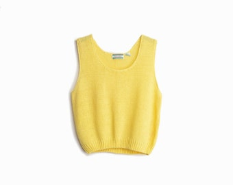 Vintage Buttercup Yellow Sleeveless Knit Top - women's medium/large