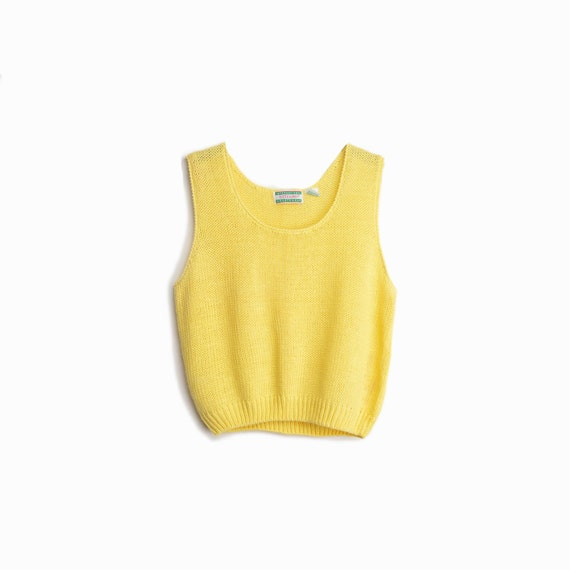 Vintage Buttercup Yellow Sleeveless Knit Top - women's medium/large