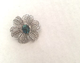 Moonstone and Silver Filigree Flower Brooch Delicate Pierced Metal Scarf Pin