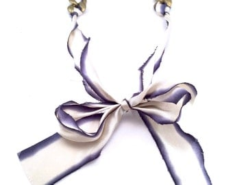 Navy & White Silk Ribbon and Chain Necklace Fabric Jewelry