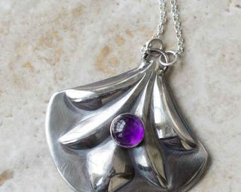Amethyst Sterling Silver Swag Necklace Handcrafted
