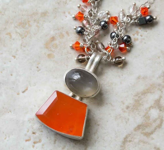 Carnelian Black Moonstone Double Stone Necklace in Sterling Silver Handcrafted