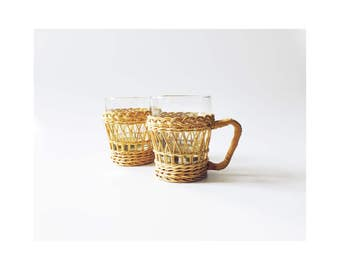Pair of Vintage Glasses in Rattan Holders