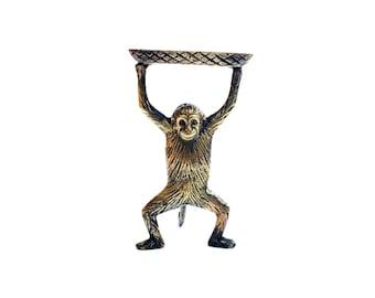 Vintage Brass Monkey Business Card Dish / Soap Dish