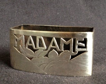 Madame. Vintage French silver napkin ring for her. Hostess Christmas gift idea, souvenir from France.