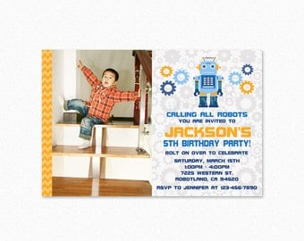 Robot Birthday Party Invitation, Robot Invites, Boy, Blue, Orange, Gears, Personalized, Printable or Printed