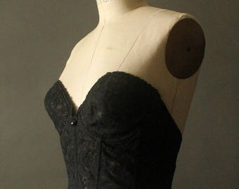 Vintage 70's Black Lace Strapless Bustier by Shape-Mate, size 34C
